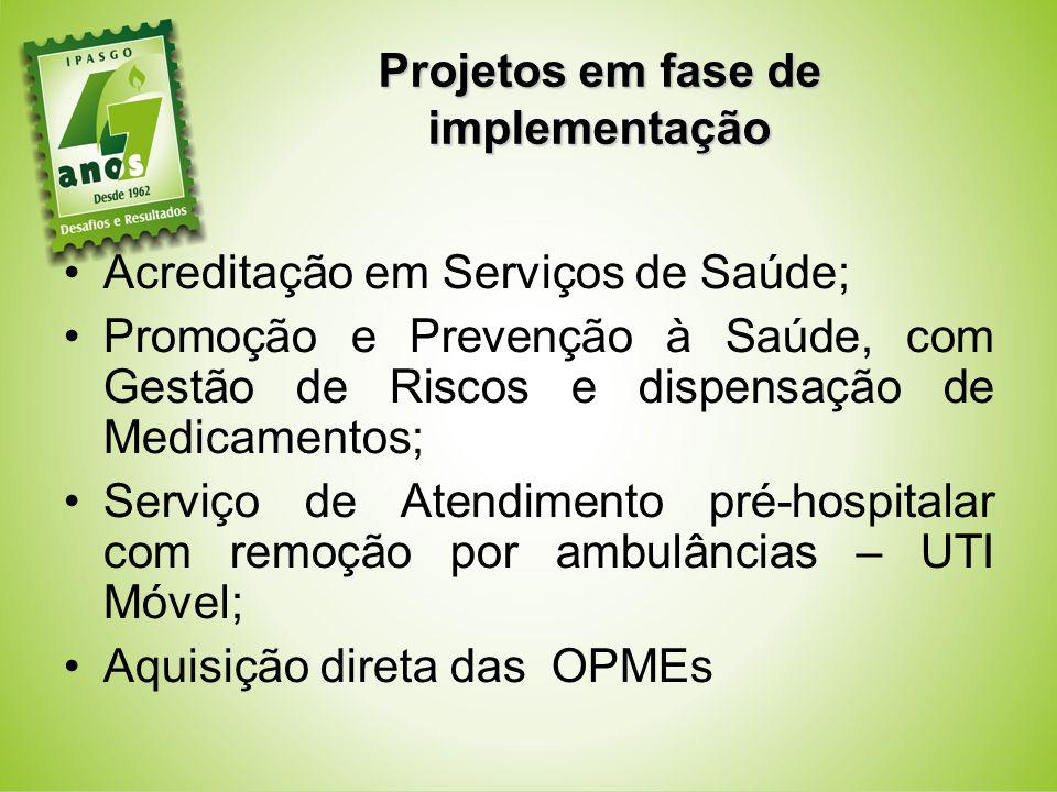 Projetos em fase de implementação Acreditação em Serviços de Saúde; Promoção e Prevenção à Saúde, com Gestão de Riscos e dispensação de Medicamentos;
