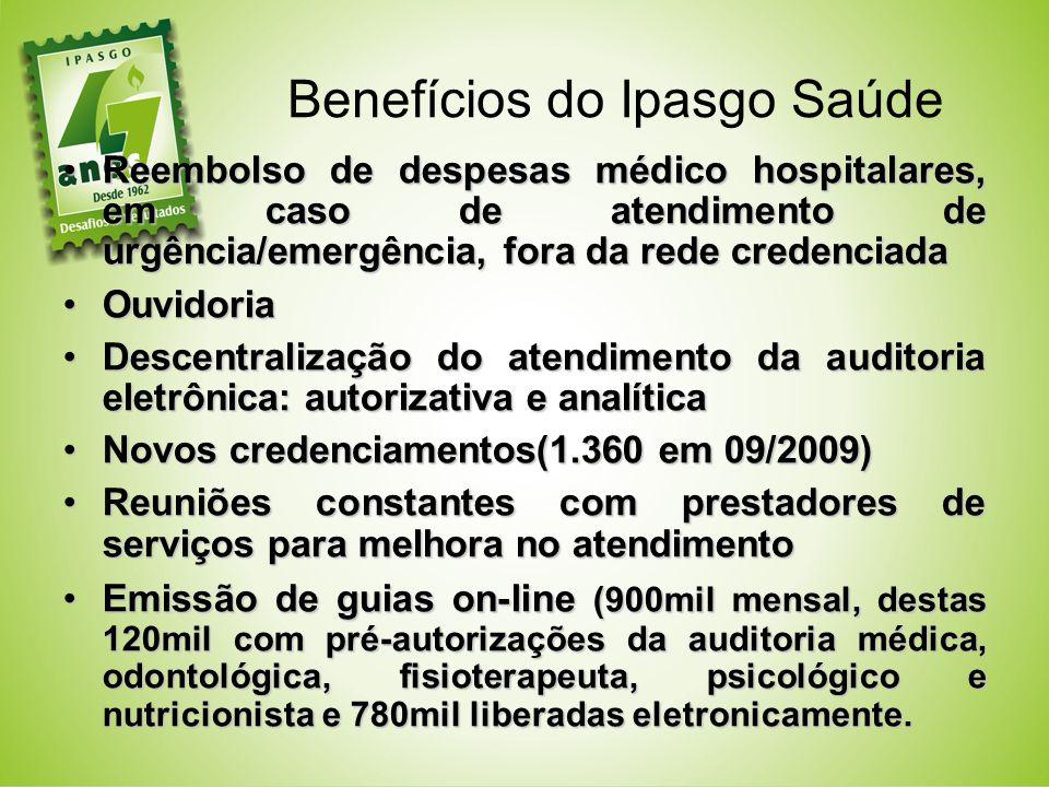 Benefícios do Ipasgo Saúde Reembolso de despesas médico hospitalares, em caso de atendimento de urgência/emergência, fora da rede credenciadaReembolso
