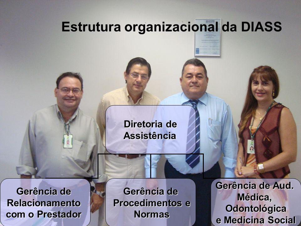 Estrutura organizacional da DIASS Diretoria de Assistência Assistência Gerênciade Gerência deRelacionamento com o Prestador Gerênciade Gerência de Pro
