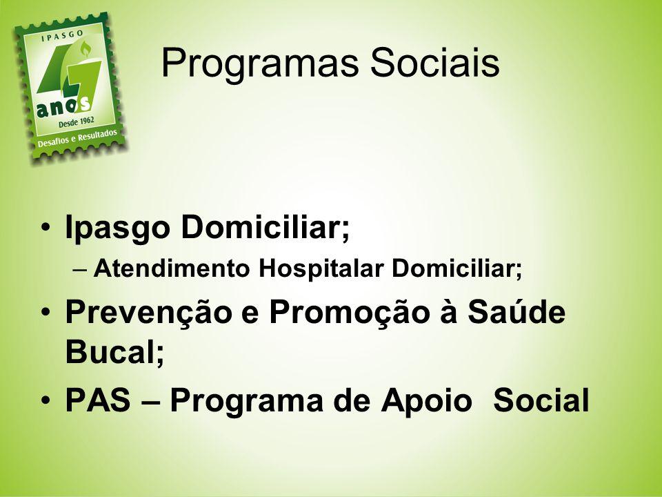 Ipasgo Domiciliar; –Atendimento Hospitalar Domiciliar; Prevenção e Promoção à Saúde Bucal; PAS – Programa de Apoio Social