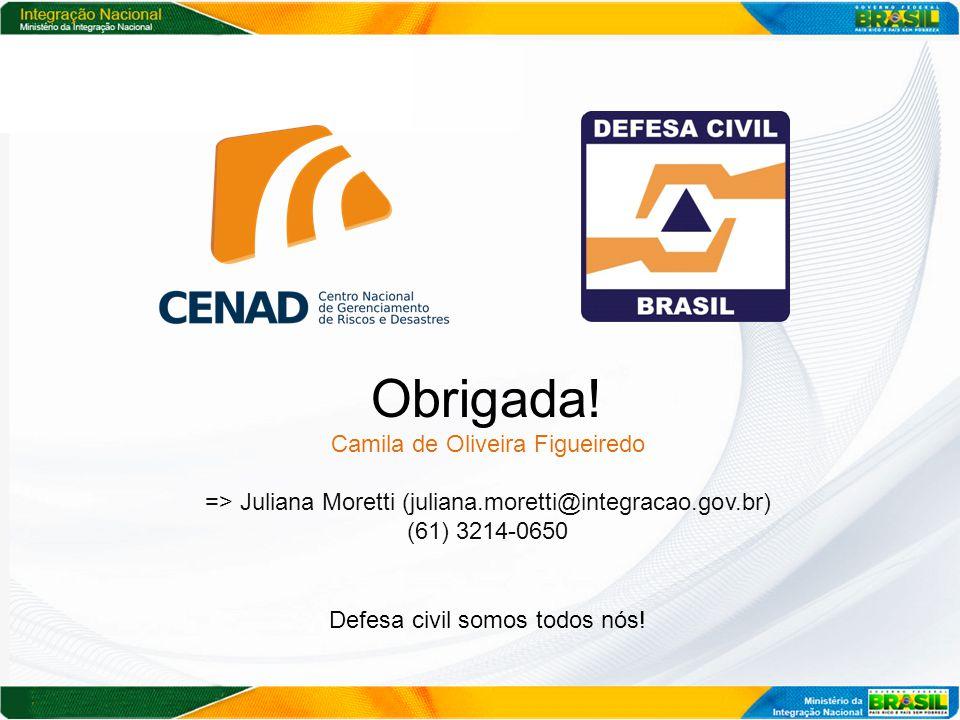 Obrigada! Camila de Oliveira Figueiredo => Juliana Moretti (juliana.moretti@integracao.gov.br) (61) 3214-0650 Defesa civil somos todos nós!