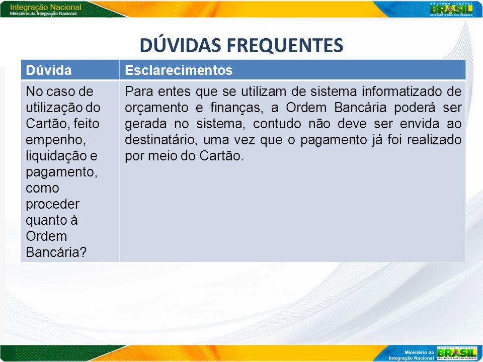 DÚVIDAS FREQUENTES DúvidaEsclarecimentos No caso de utilização do Cartão, feito empenho, liquidação e pagamento, como proceder quanto à Ordem Bancária.
