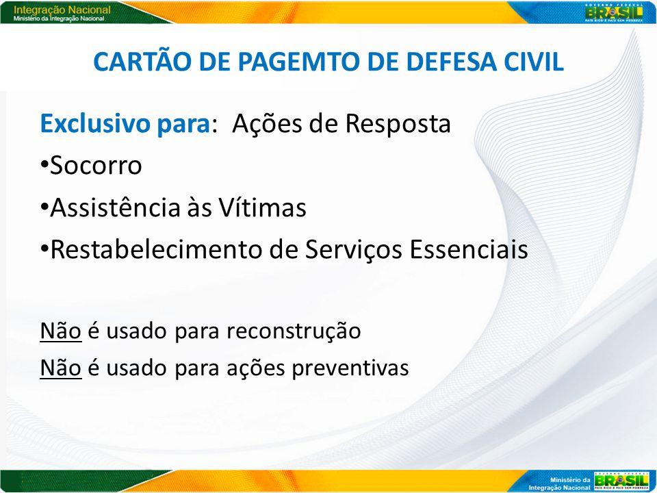 CARTÃO DE PAGEMTO DE DEFESA CIVIL Exclusivo para: Ações de Resposta Socorro Assistência às Vítimas Restabelecimento de Serviços Essenciais Não é usado para reconstrução Não é usado para ações preventivas