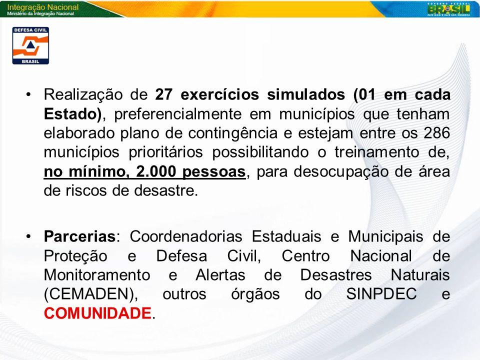 Realização de 27 exercícios simulados (01 em cada Estado), preferencialmente em municípios que tenham elaborado plano de contingência e estejam entre