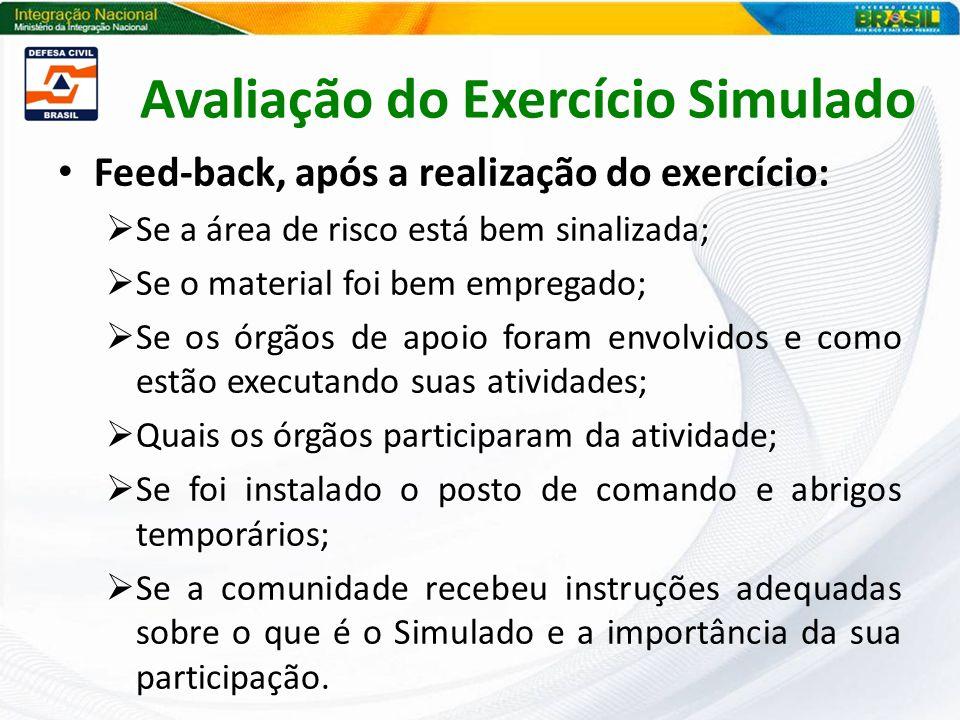 Feed-back, após a realização do exercício: Se a área de risco está bem sinalizada; Se o material foi bem empregado; Se os órgãos de apoio foram envolv