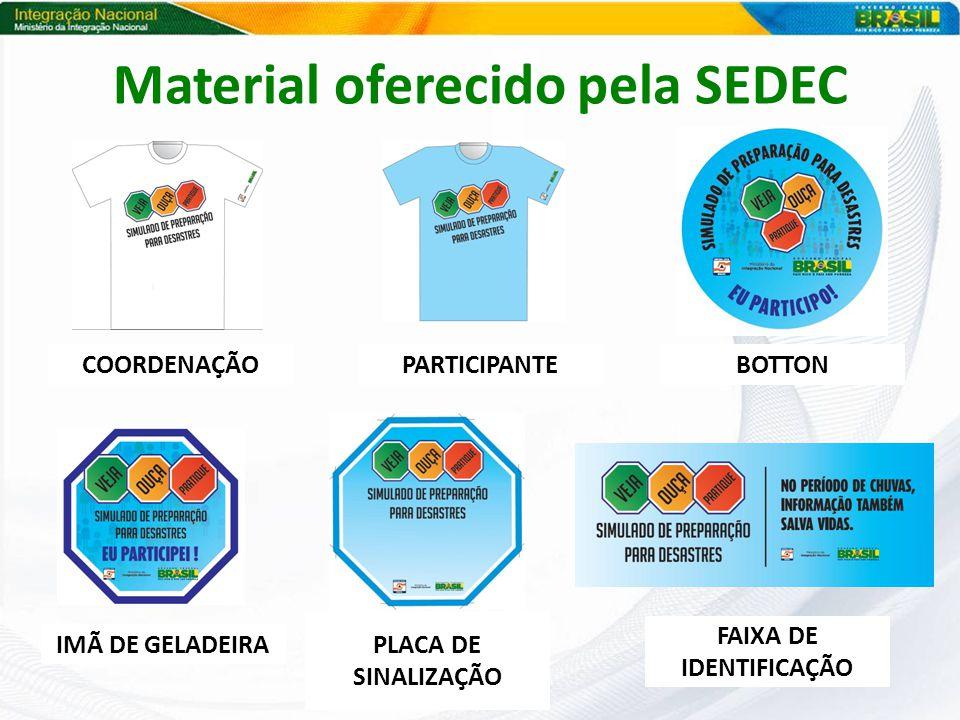 Material oferecido pela SEDEC COORDENAÇÃOPARTICIPANTEBOTTON IMÃ DE GELADEIRA PLACA DE SINALIZAÇÃO FAIXA DE IDENTIFICAÇÃO