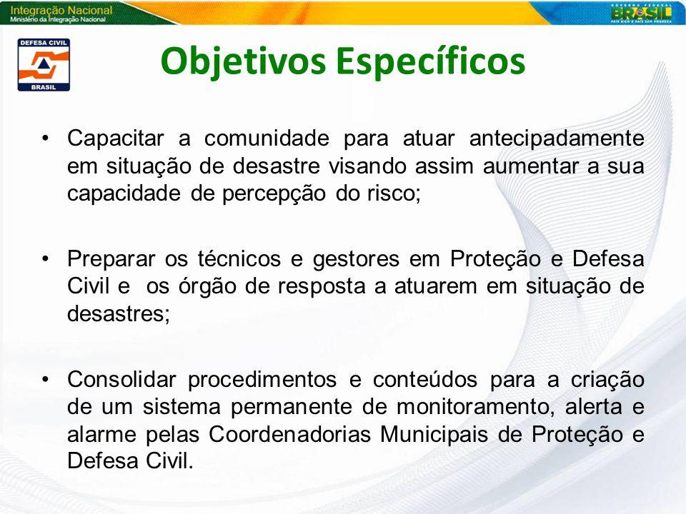Objetivos Específicos Capacitar a comunidade para atuar antecipadamente em situação de desastre visando assim aumentar a sua capacidade de percepção d