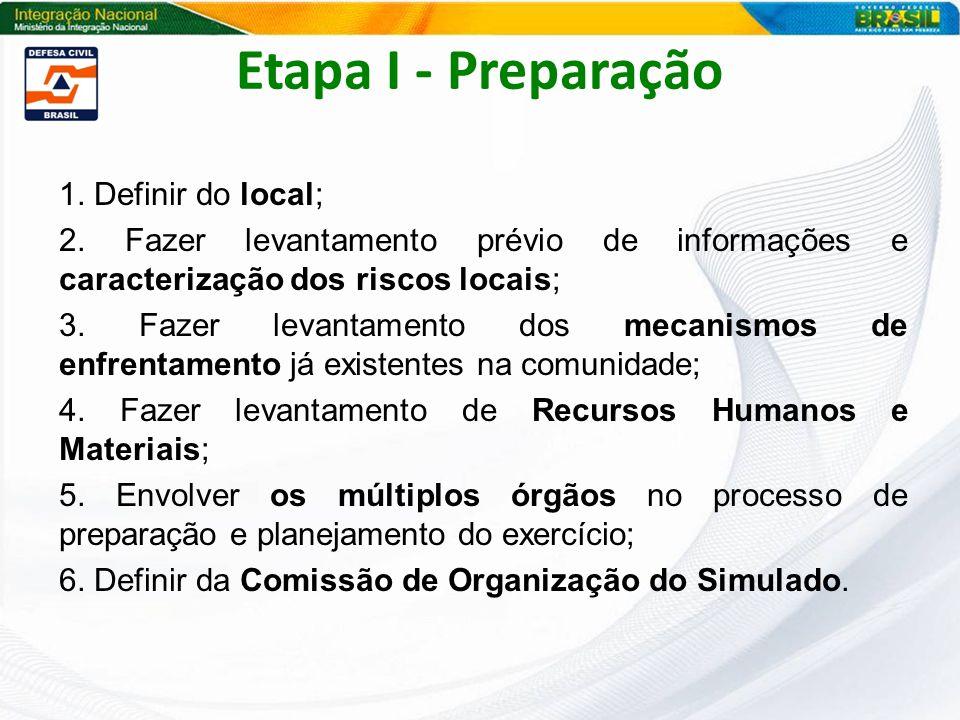 Etapa I - Preparação 1. Definir do local; 2. Fazer levantamento prévio de informações e caracterização dos riscos locais; 3. Fazer levantamento dos me
