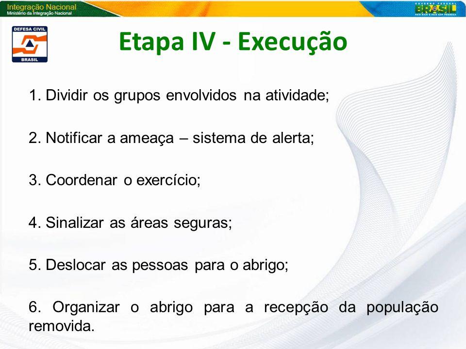 1. Dividir os grupos envolvidos na atividade; 2. Notificar a ameaça – sistema de alerta; 3. Coordenar o exercício; 4. Sinalizar as áreas seguras; 5. D