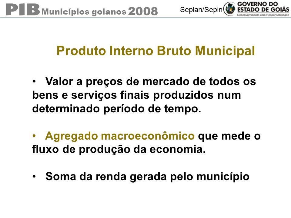 Municípios goianos 2008 Seplan/Sepin Produto Interno Bruto Municipal Valor a preços de mercado de todos os bens e serviços finais produzidos num deter