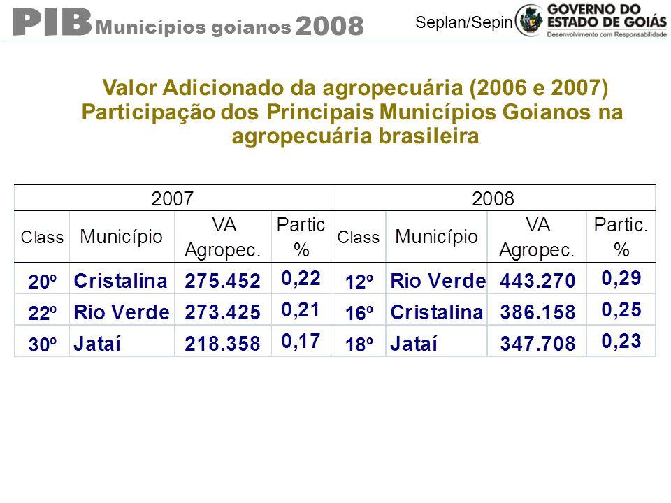 Municípios goianos 2008 Seplan/Sepin Valor Adicionado da agropecuária (2006 e 2007) Participação dos Principais Municípios Goianos na agropecuária bra