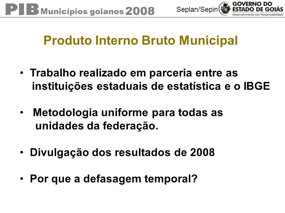 Municípios goianos 2008 Seplan/Sepin Produto Interno Bruto Municipal Trabalho realizado em parceria entre as instituições estaduais de estatística e o