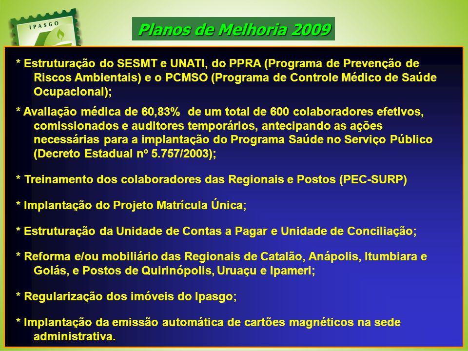 * Estruturação do SESMT e UNATI, do PPRA (Programa de Prevenção de Riscos Ambientais) e o PCMSO (Programa de Controle Médico de Saúde Ocupacional); *