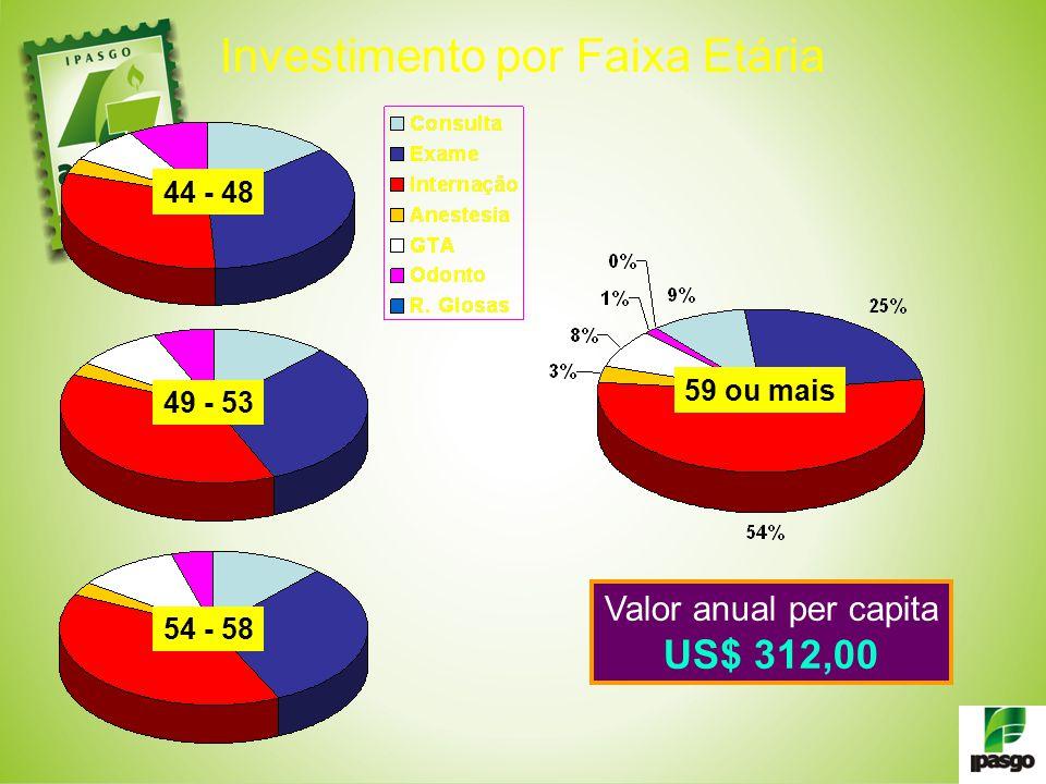 44 - 48 49 - 53 54 - 58 59 ou mais Valor anual per capita US$ 312,00 Investimento por Faixa Etária