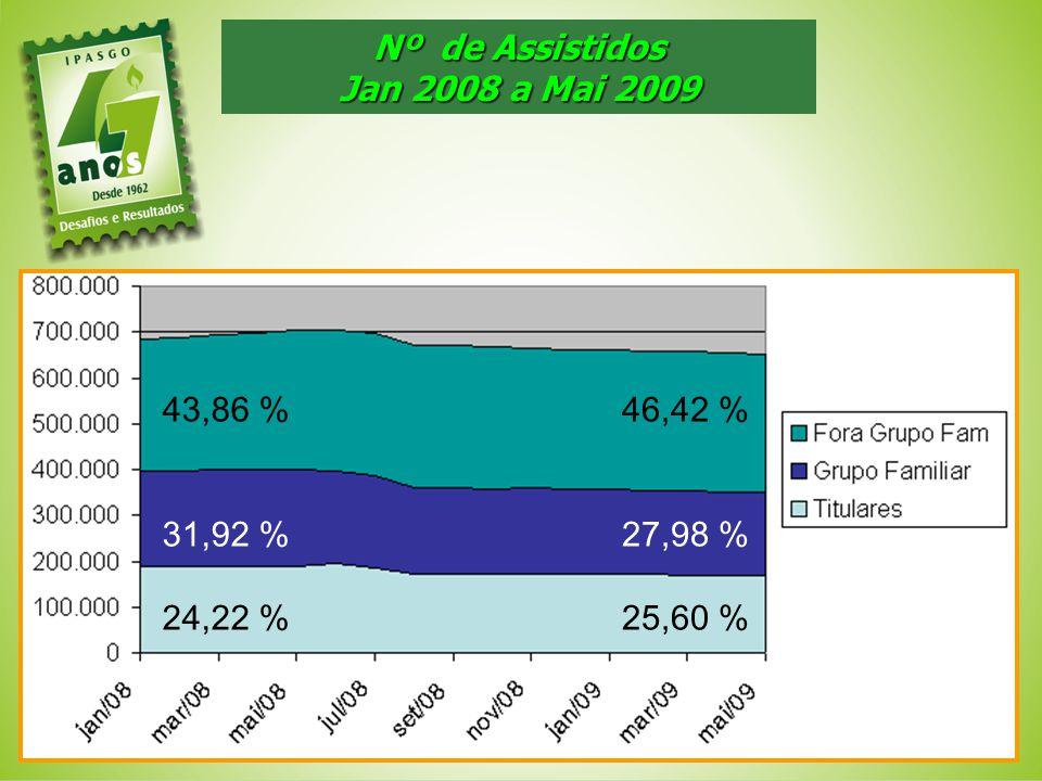 Nº de Assistidos Jan 2008 a Mai 2009 43,86 % 31,92 % 24,22 % 46,42 % 27,98 % 25,60 %