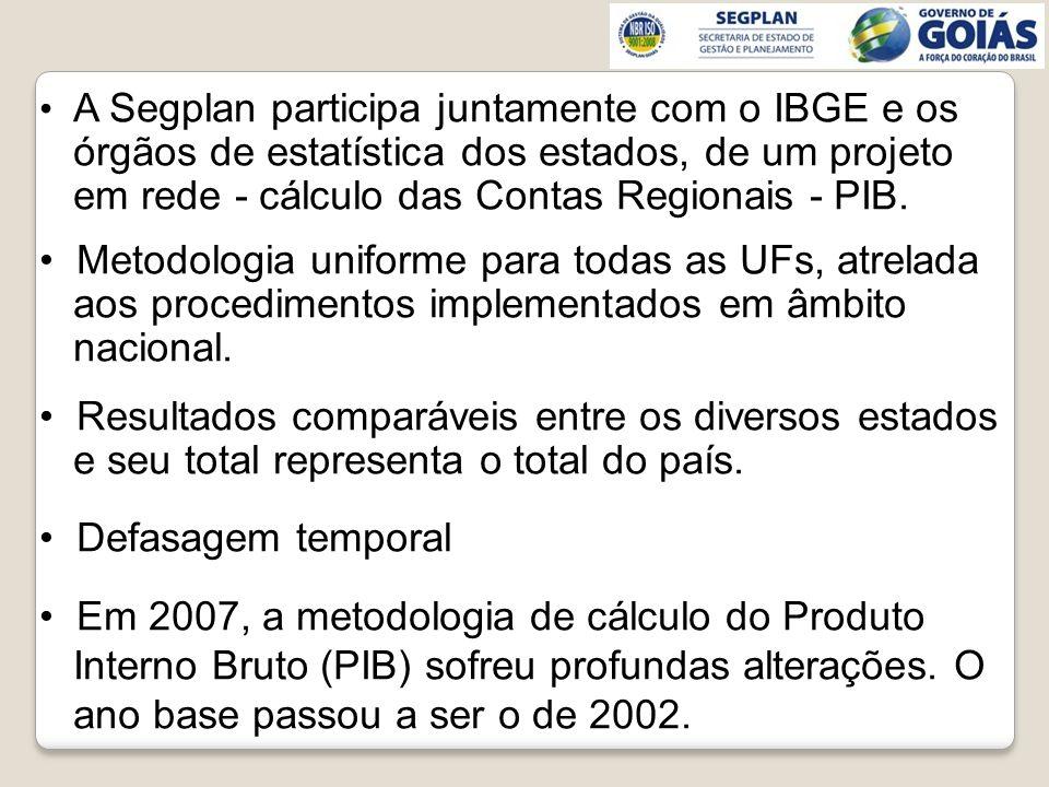 A Segplan participa juntamente com o IBGE e os órgãos de estatística dos estados, de um projeto em rede - cálculo das Contas Regionais - PIB. Metodolo