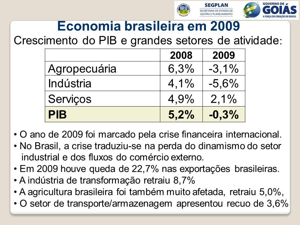 O ano de 2009 foi marcado pela crise financeira internacional. No Brasil, a crise traduziu-se na perda do dinamismo do setor industrial e dos fluxos d