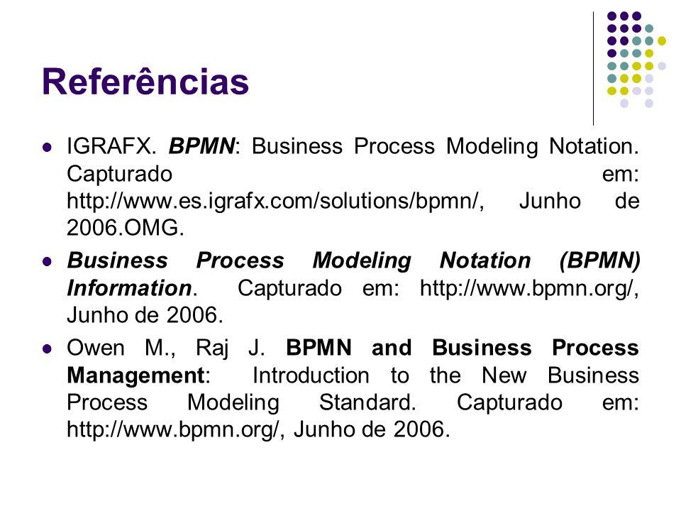 Referências IGRAFX. BPMN: Business Process Modeling Notation. Capturado em: http://www.es.igrafx.com/solutions/bpmn/, Junho de 2006.OMG. Business Proc