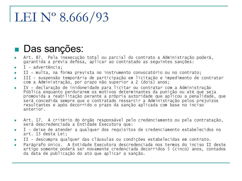 LEI Nº 8.666/93 Das sanções: Art.87.