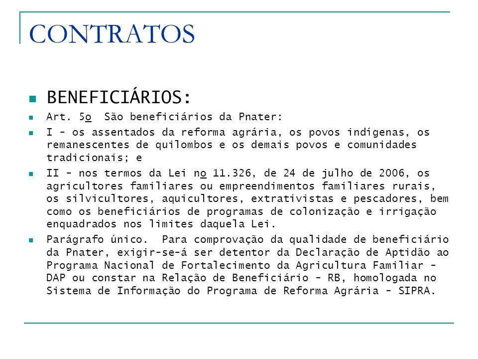 CONTRATOS BENEFICIÁRIOS: Art.