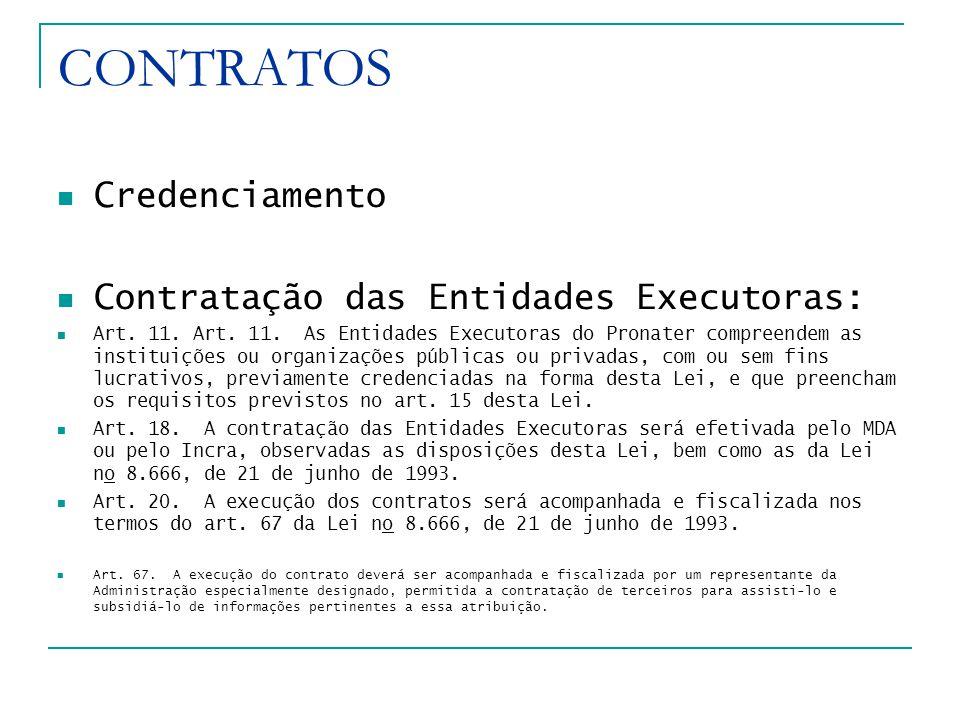 CONTRATOS Credenciamento Contratação das Entidades Executoras: Art.