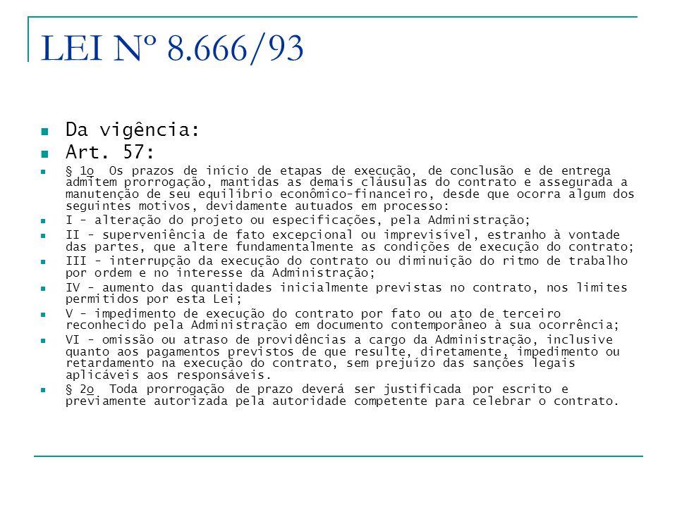 LEI Nº 8.666/93 Da vigência: Art.