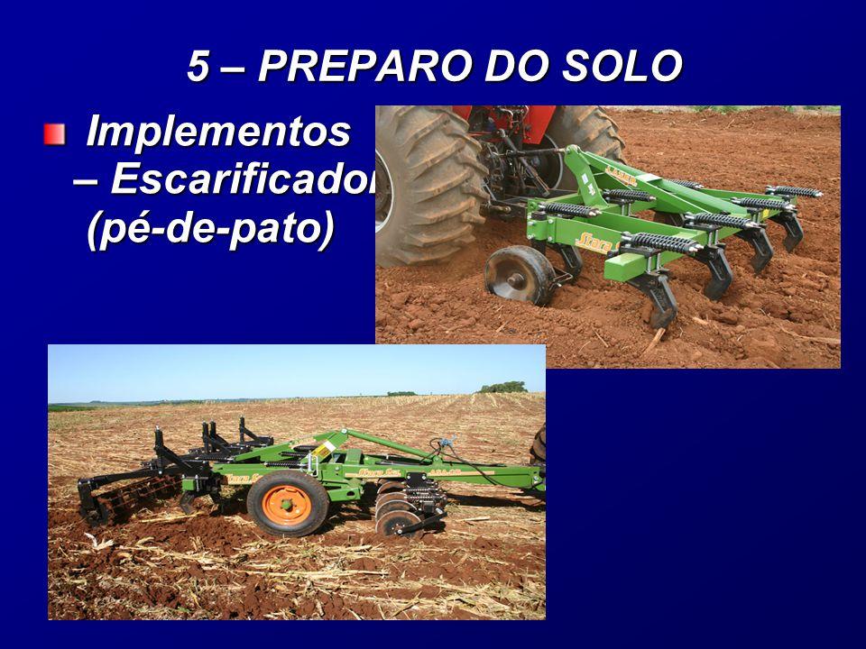 Implementos – Escarificador (pé-de-pato) Implementos – Escarificador (pé-de-pato) 5 – PREPARO DO SOLO