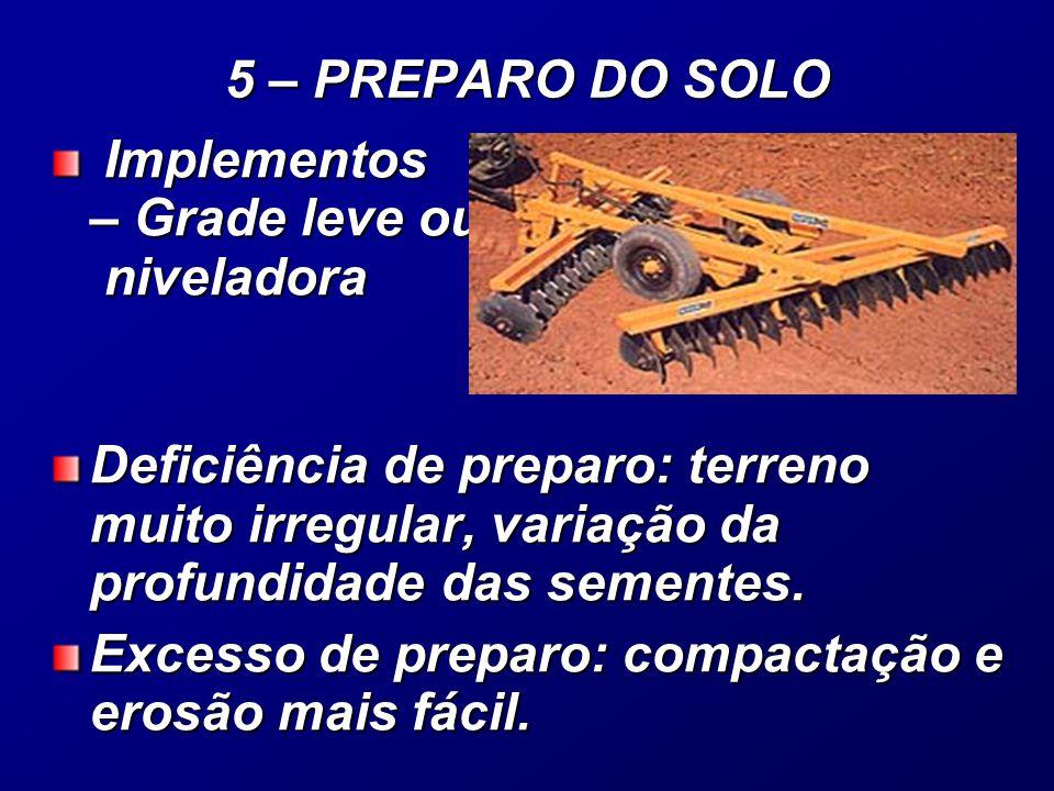 Implementos – Grade leve ou niveladora Implementos – Grade leve ou niveladora Deficiência de preparo: terreno muito irregular, variação da profundidade das sementes.