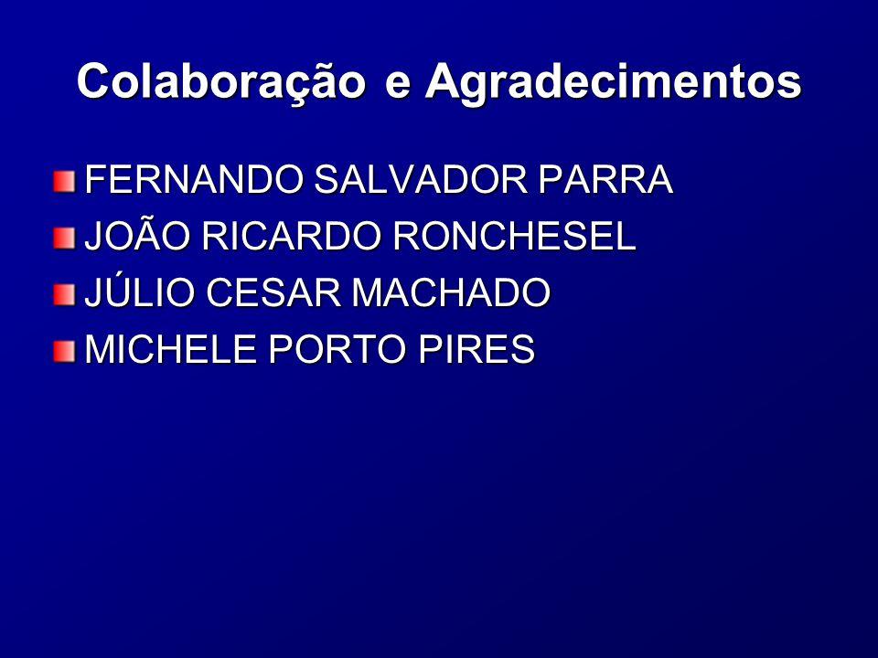 Colaboração e Agradecimentos FERNANDO SALVADOR PARRA JOÃO RICARDO RONCHESEL JÚLIO CESAR MACHADO MICHELE PORTO PIRES