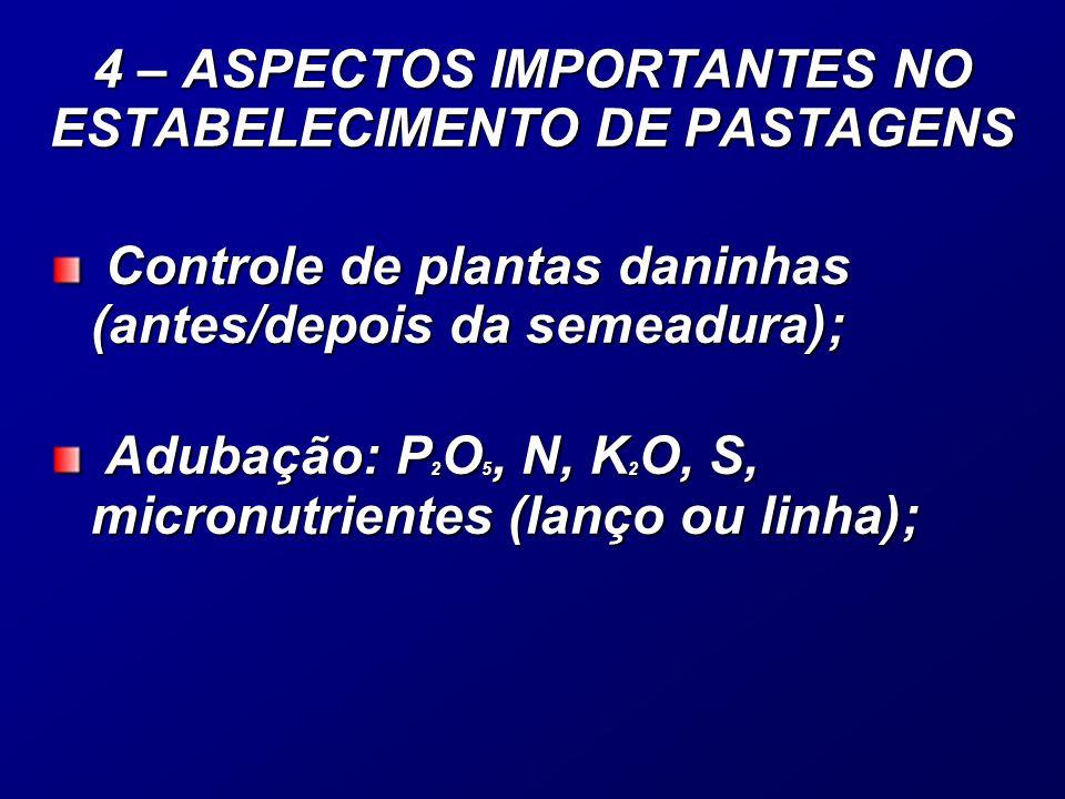 Controle de plantas daninhas (antes/depois da semeadura); Controle de plantas daninhas (antes/depois da semeadura); Adubação: P 2 O 5, N, K 2 O, S, micronutrientes (lanço ou linha); Adubação: P 2 O 5, N, K 2 O, S, micronutrientes (lanço ou linha); 4 – ASPECTOS IMPORTANTES NO ESTABELECIMENTO DE PASTAGENS