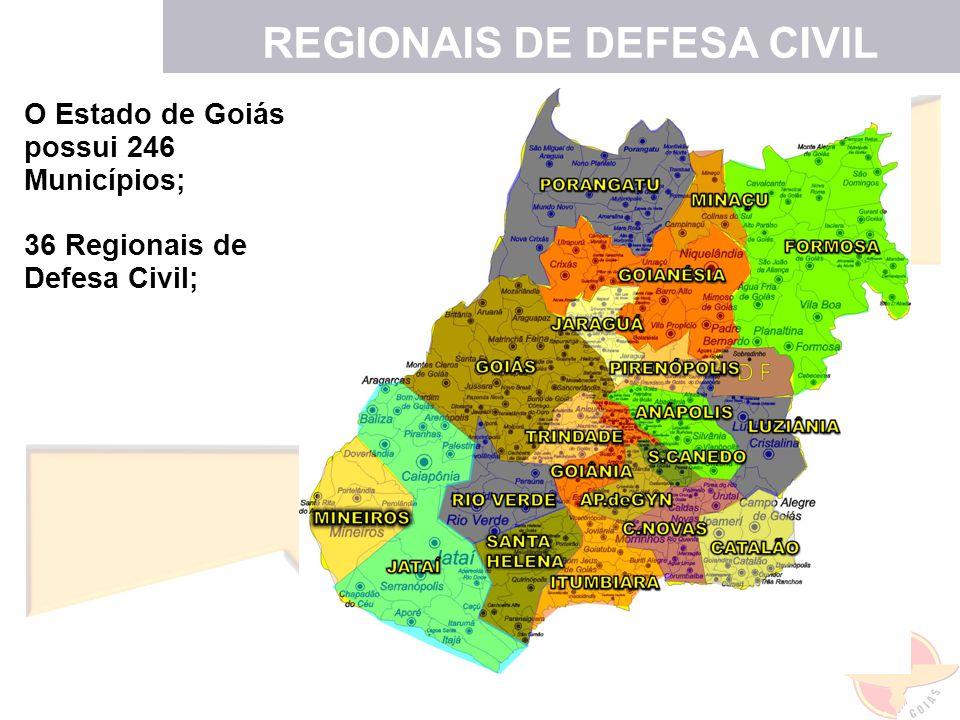 O Estado de Goiás possui 246 Municípios; 36 Regionais de Defesa Civil; LOCALIZAÇÃO DAS REGIONAIS REGIONAIS DE DEFESA CIVIL