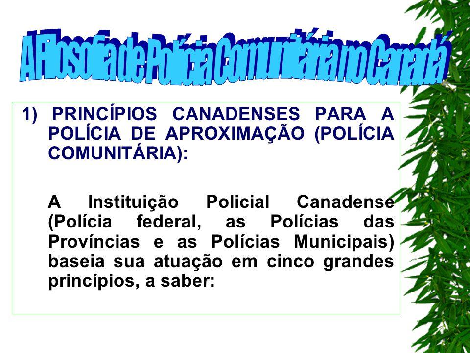1 1) PRINCÍPIOS CANADENSES PARA A POLÍCIA DE APROXIMAÇÃO (POLÍCIA COMUNITÁRIA): A Instituição Policial Canadense (Polícia federal, as Polícias das Províncias e as Polícias Municipais) baseia sua atuação em cinco grandes princípios, a saber:
