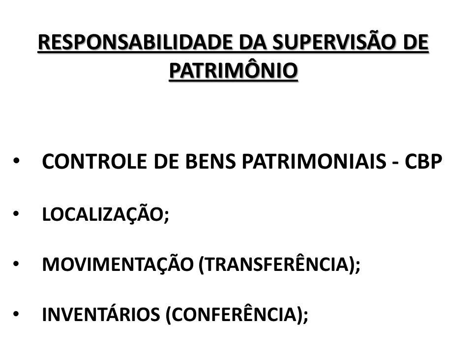RESPONSABILIDADE DA SUPERVISÃO DE PATRIMÔNIO ABERTURA DE PROCESSO (FURTO, ROUBO OU BEM NÃO LOCALIZADO); BAIXA; TRANSFERÊNCIA DE RESPONSABILIDADE; TERMO DE CESSÃO DE USO.