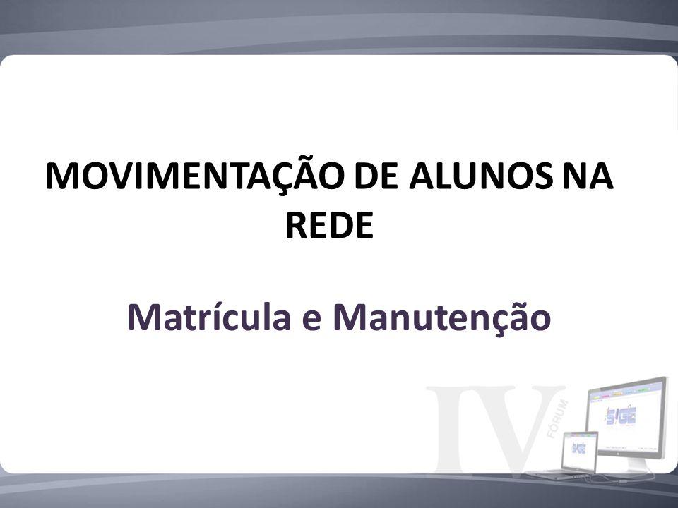 MOVIMENTAÇÃO DE ALUNOS NA REDE Matrícula e Manutenção