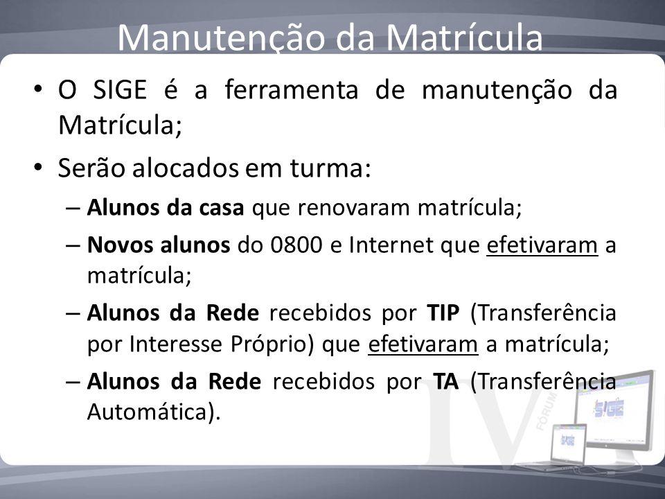 Manutenção da Matrícula O SIGE é a ferramenta de manutenção da Matrícula; Serão alocados em turma: – Alunos da casa que renovaram matrícula; – Novos a