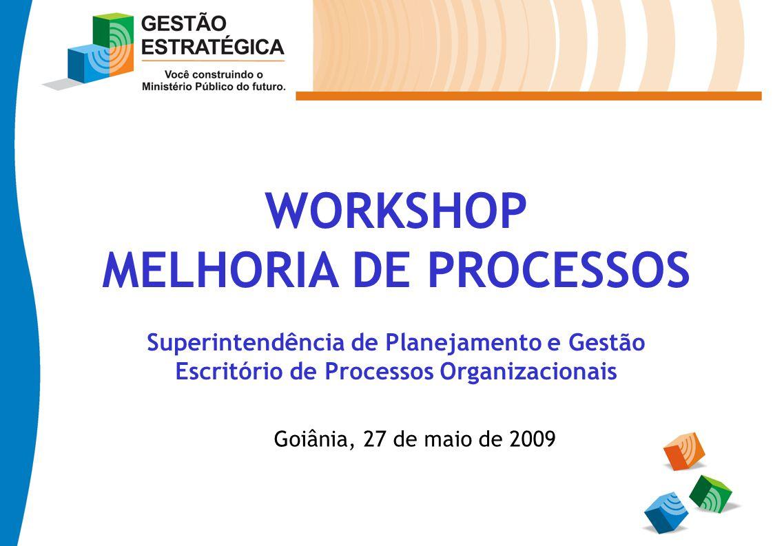 WORKSHOP MELHORIA DE PROCESSOS Superintendência de Planejamento e Gestão Escritório de Processos Organizacionais Goiânia, 27 de maio de 2009