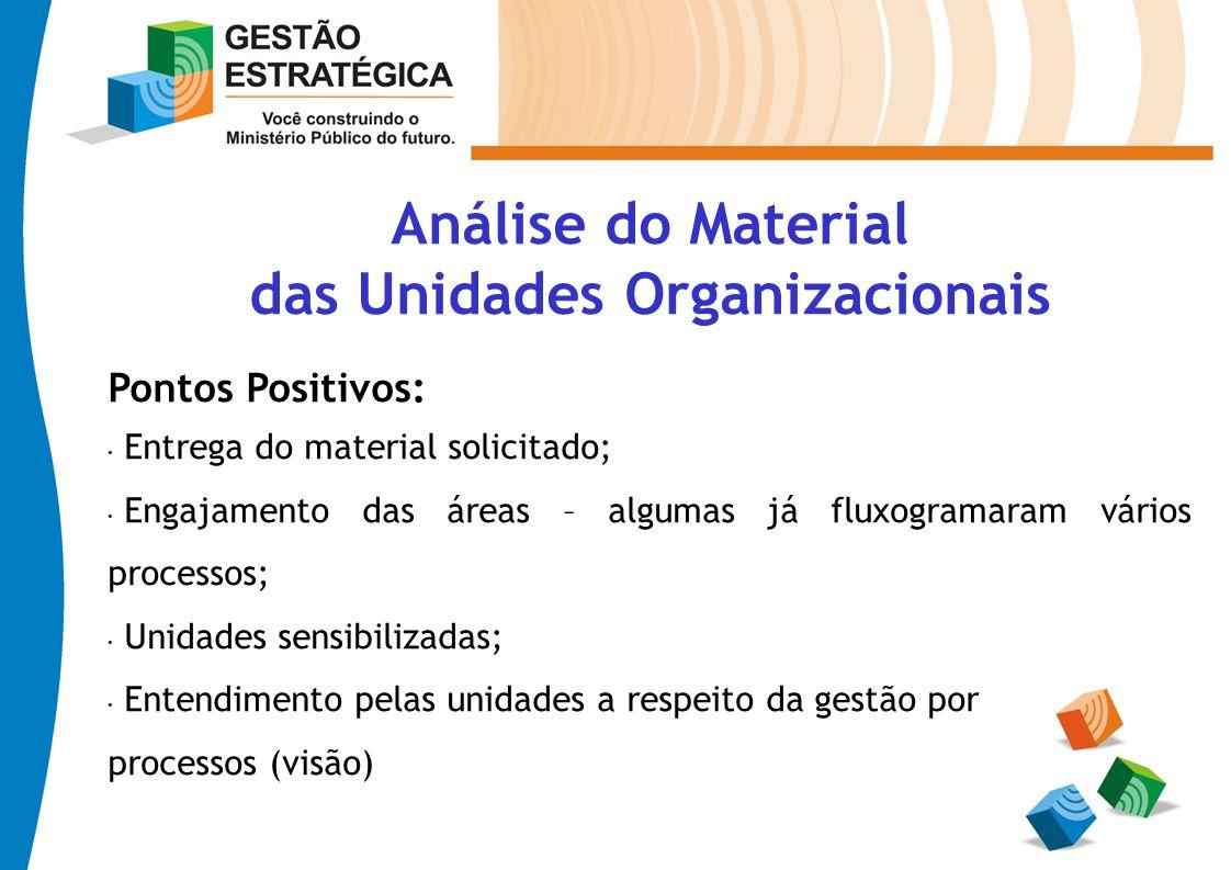 Análise do Material das Unidades Organizacionais Pontos Positivos: Entrega do material solicitado; Engajamento das áreas – algumas já fluxogramaram vá