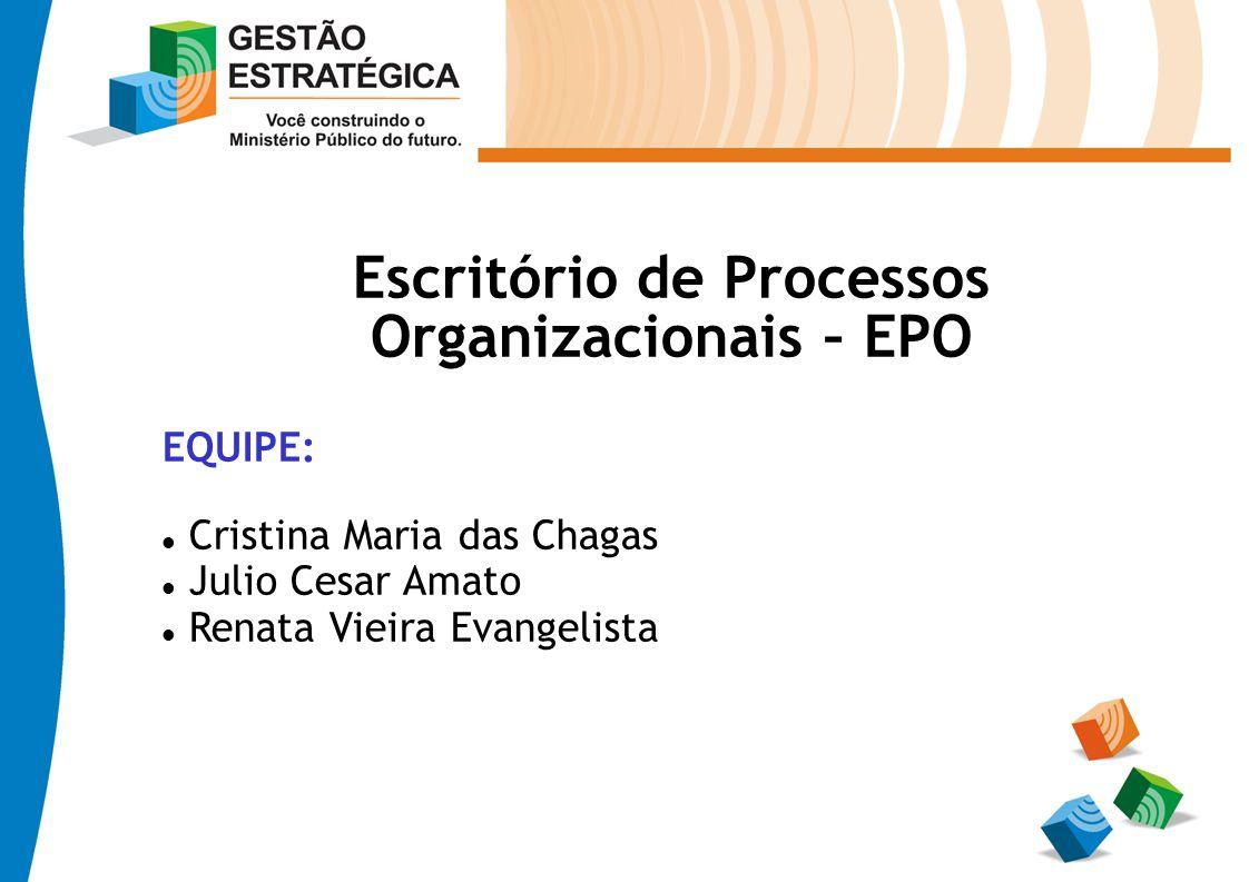 Escritório de Processos Organizacionais – EPO EQUIPE: Cristina Maria das Chagas Julio Cesar Amato Renata Vieira Evangelista