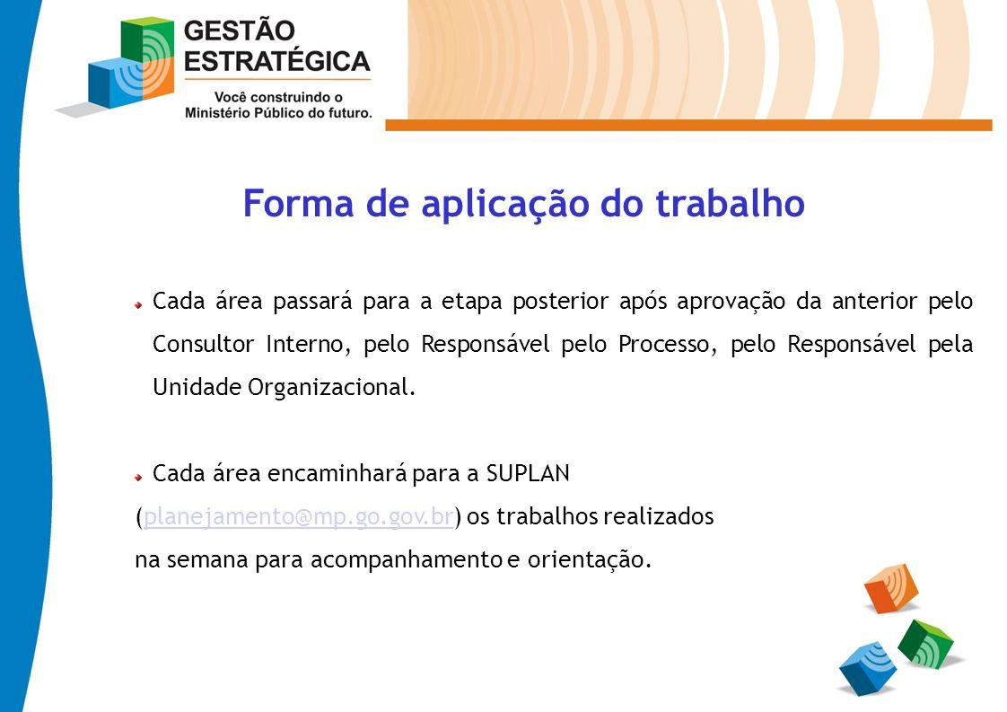 Forma de aplicação do trabalho Cada área passará para a etapa posterior após aprovação da anterior pelo Consultor Interno, pelo Responsável pelo Proce