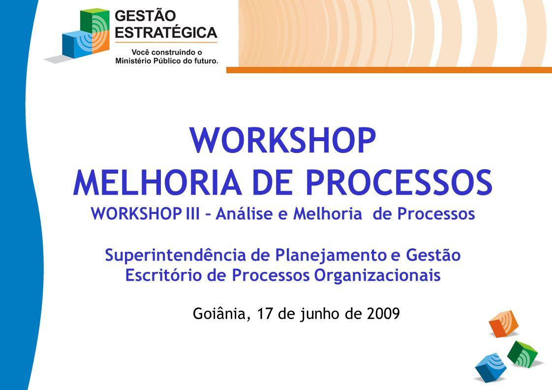 WORKSHOP MELHORIA DE PROCESSOS WORKSHOP III – Análise e Melhoria de Processos Superintendência de Planejamento e Gestão Escritório de Processos Organi
