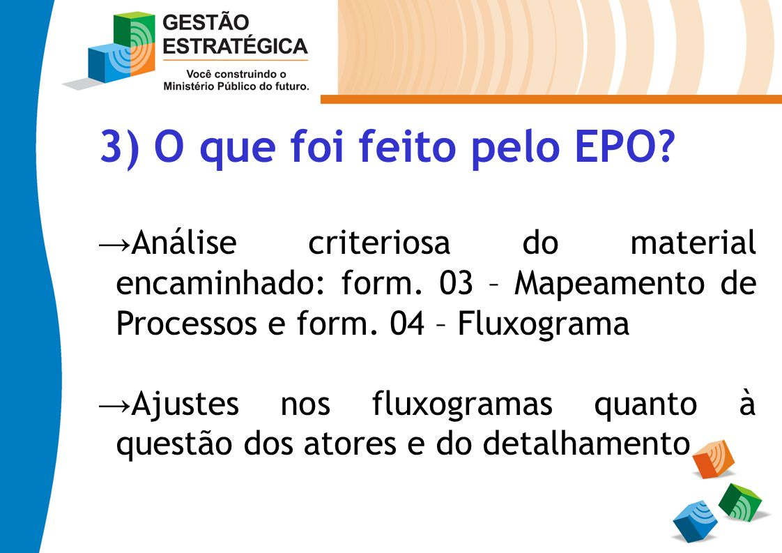3) O que foi feito pelo EPO? Análise criteriosa do material encaminhado: form. 03 – Mapeamento de Processos e form. 04 – Fluxograma Ajustes nos fluxog