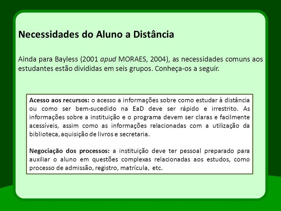 Necessidades do Aluno a Distância Ainda para Bayless (2001 apud MORAES, 2004), as necessidades comuns aos estudantes estão divididas em seis grupos. C