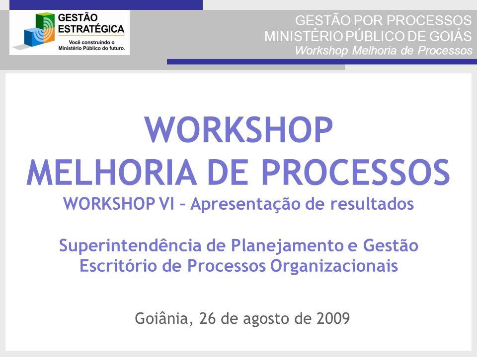 GESTÃO POR PROCESSOS MINISTÉRIO PÚBLICO DE GOIÁS Workshop Melhoria de Processos WORKSHOP MELHORIA DE PROCESSOS WORKSHOP VI – Apresentação de resultado