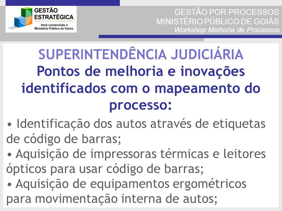 GESTÃO POR PROCESSOS MINISTÉRIO PÚBLICO DE GOIÁS Workshop Melhoria de Processos Identificação dos autos através de etiquetas de código de barras; Aqui