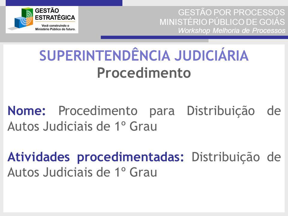 GESTÃO POR PROCESSOS MINISTÉRIO PÚBLICO DE GOIÁS Workshop Melhoria de Processos Nome: Procedimento para Distribuição de Autos Judiciais de 1º Grau Ati