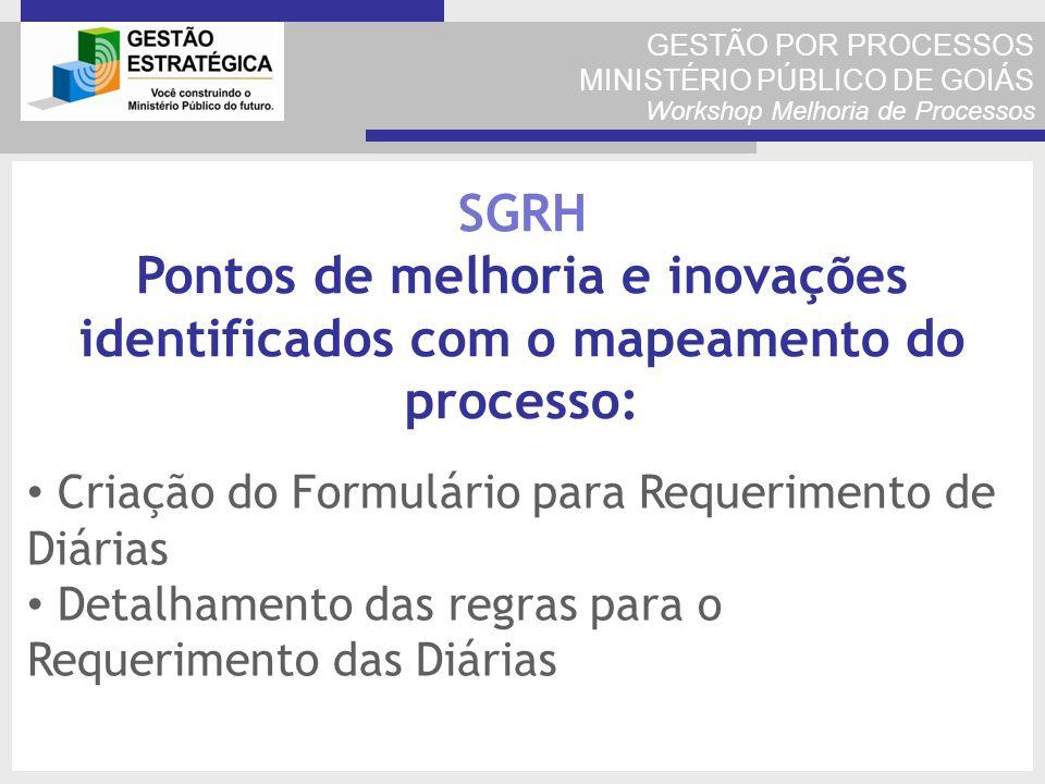 GESTÃO POR PROCESSOS MINISTÉRIO PÚBLICO DE GOIÁS Workshop Melhoria de Processos Criação do Formulário para Requerimento de Diárias Detalhamento das re
