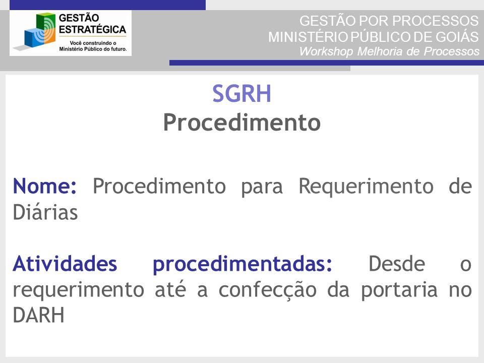 GESTÃO POR PROCESSOS MINISTÉRIO PÚBLICO DE GOIÁS Workshop Melhoria de Processos Nome: Procedimento para Requerimento de Diárias Atividades procediment