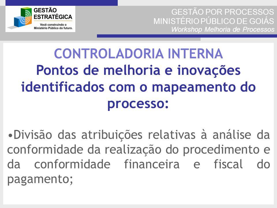 GESTÃO POR PROCESSOS MINISTÉRIO PÚBLICO DE GOIÁS Workshop Melhoria de Processos Divisão das atribuições relativas à análise da conformidade da realiza