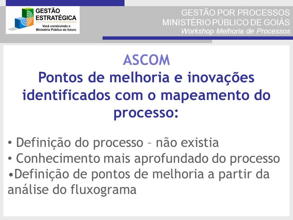 GESTÃO POR PROCESSOS MINISTÉRIO PÚBLICO DE GOIÁS Workshop Melhoria de Processos Definição do processo – não existia Conhecimento mais aprofundado do p