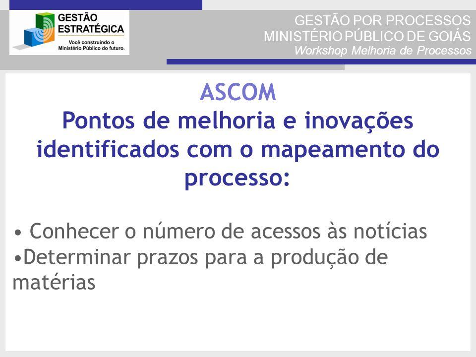 GESTÃO POR PROCESSOS MINISTÉRIO PÚBLICO DE GOIÁS Workshop Melhoria de Processos Conhecer o número de acessos às notícias Determinar prazos para a prod